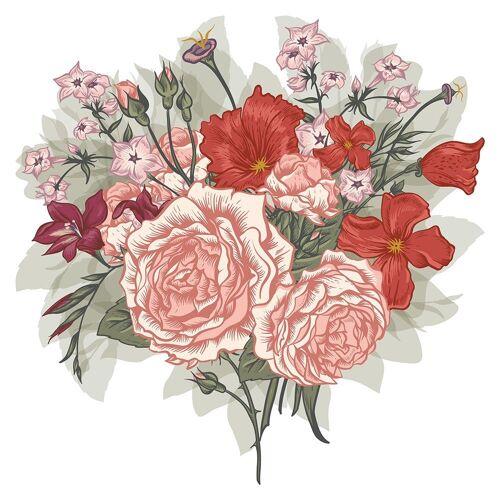 dekodino Wandtattoo »Blumen Aquarell Blumenstrauß Rose Mohnblume« (1 Stück)