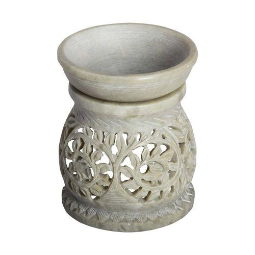 Casa Moro Duftlampe »Orientalische Duftlampe Shakir-1 aus Soapstone geschnitzt 10x10x11 cm (B/T/H) Diffusor, Teelicht-Halter für Aromatherapie, Handmade Aromalampe, SL3010«