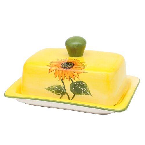 SIGRO Butterdose »Dolomite Butterdose Sonnenblume«, Keramik, (2-tlg)