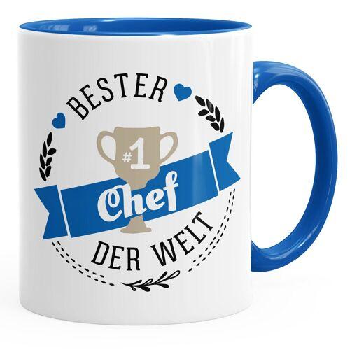 MoonWorks Tasse »Kaffee-Tasse {bester_t_Chef} Chef der Welt Geschenk für Chef ®«, blau