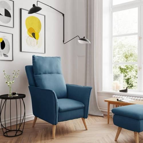 PLACE TO BE. Relaxsessel, Moderner hochwertiger Relaxsessel Fernsehsessel ohne Funktion Insideout Small mit XXL Rückenlehne, Blau