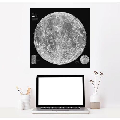 Posterlounge Wandbild, Premium-Poster Mondkarte, Schwarz/Weiß (Englisch)