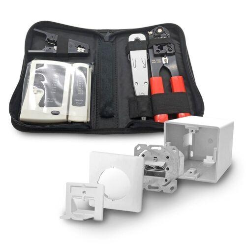 ARLI Netzwerk-Adapter, 1x Cat6a Netzwerkdose 2 Port + Werkzeugset / Crimpzange Rj45 + Tester + LSA + Kabelmesser Werkzeug Set