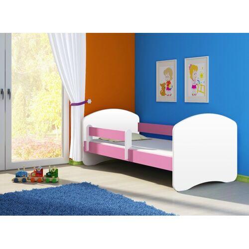 Clamaro Kinderbett (Kinderbett Fantasia, weiss mit farbigem Seitenteil, Kinder, Bett, mit oder ohne Schublade), 02 Rosa