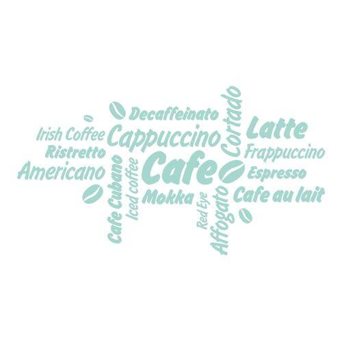 dekodino Wandtattoo »Kaffee Kaffeesorten mit Kaffeebohnen« (1 Stück), 49 - mint