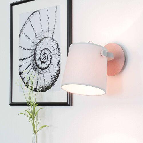 Licht-Erlebnisse Wandstrahler »CLICK Wandeuchte Wohnzimmer Grau Metall Stoff schwenkbar Flur Leselampe Lampe«