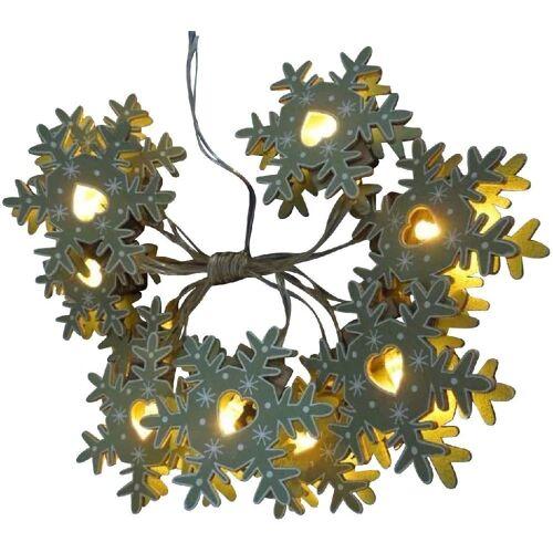 JOKA international LED-Lichterkette »LED Lichterkette Holz als Schneeflocke«, 10-flammig