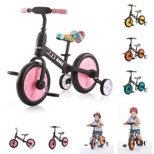 Chipolino Laufrad »Dreirad, Laufrad 2 in 1 Max Bike« 10 Zoll (25,40 cm) Zoll, 10 Zoll Räder, Pedale, Stützräder, rosa