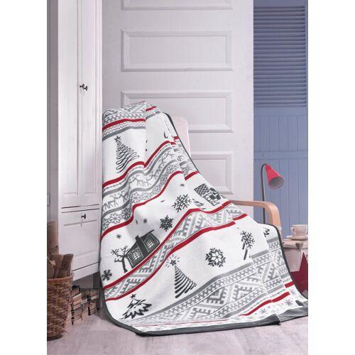 SEI Design Wohndecke »Weihnachten X-Mas Tannebaum Royalgrau«, , Plaid Kuscheldecke