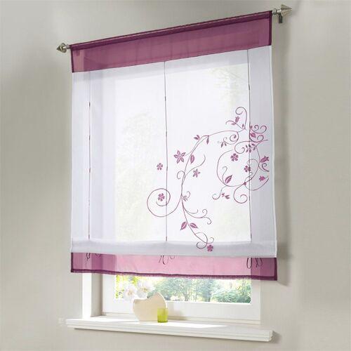 i@home Raffrollo »Bestickt Raffgardine Vorhang Gardine Fenstervorhang Scheibengardinen«, , mit Schlaufen, Weinrot