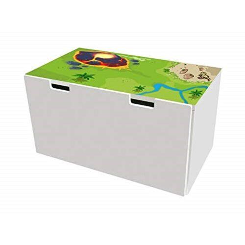 STIKKIPIX Möbelfolie »BTD10«, Dinoland Möbelfolie, Möbelaufkleber mit Dinosaurier-Motiv, passend für die Kinderzimmer Banktruhe STUVA von IKEA (90 x 50 cm), Möbel Nicht Inklusive