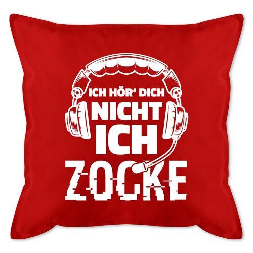 Shirtracer Dekokissen »Ich hör dich nicht ich zocke Headset Glitch Weiß - Bedrucktes Kissen mit Füllung - Kissen«, Nerds & Geeks, 09 Rot