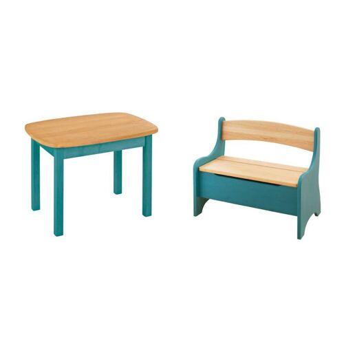 BioKinder - Das gesunde Kinderzimmer Kindersitzgruppe »Levin«, mit Tisch und Sitzbank, Sitzhöhe 30 cm, Ocean-Blau