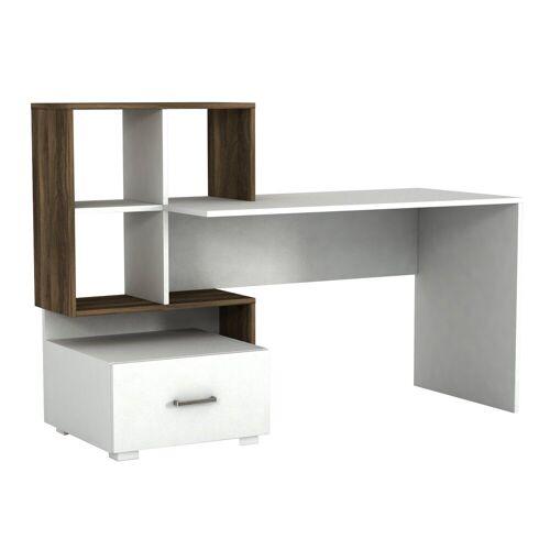 moebel17 Schreibtisch »Schreibtisch Bloom Weiß Walnuss«