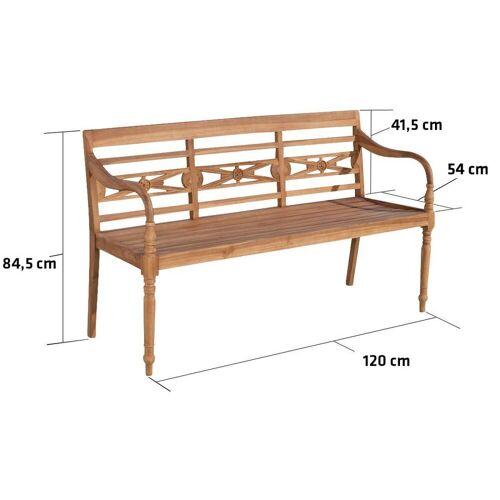 CLP Gartenbank »Maryland V2«, Holzbank für den Garten, Sitzbank mit Armlehnen