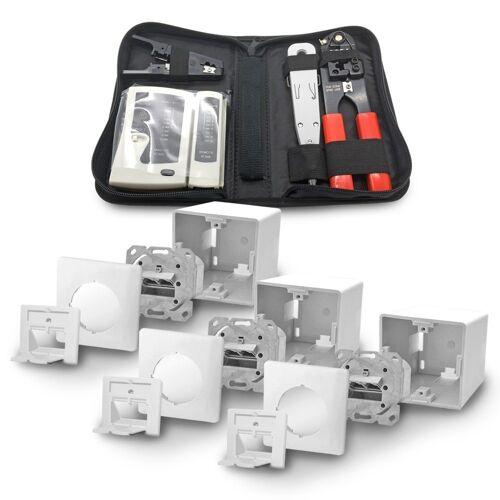 ARLI Netzwerk-Adapter, 3x Cat6a Netzwerkdose 2 Port + Werkzeugset / Crimpzange Rj45 + Tester + LSA + Kabelmesser Werkzeug Set