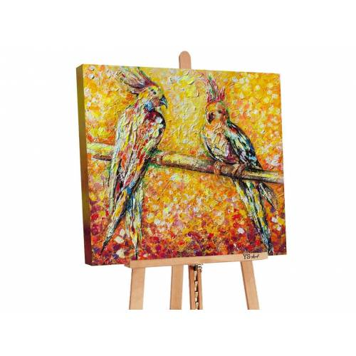 ART YS-Art Gemälde »Papagei in der Sonne PS073«