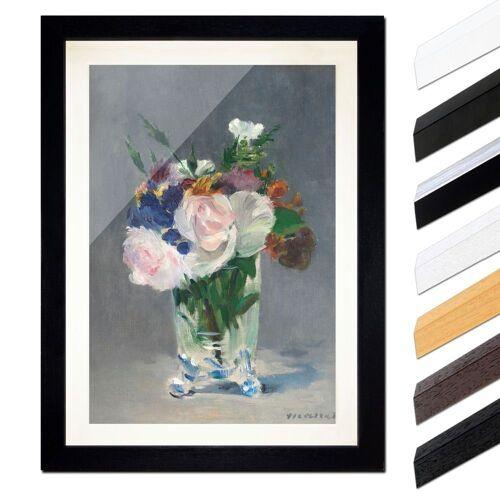 Bilderdepot24 Wandbild, Édouard Manet - Blumen in einer Kristallvase, Schwarz