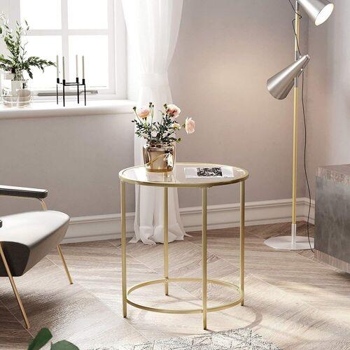 VASAGLE Beistelltisch »LGT20G«, Beistelltisch rund, Glastisch, Couchtisch, Nachttisch, golden