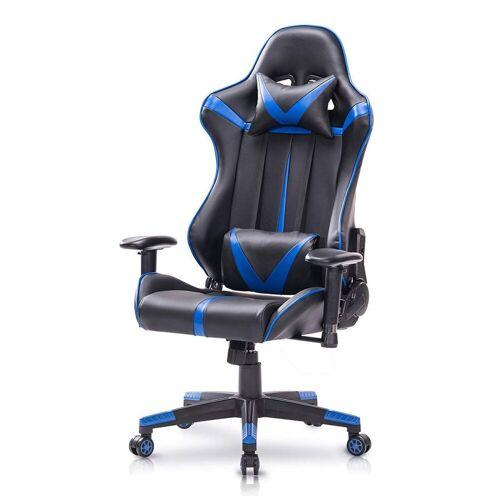 Woltu Gaming-Stuhl Bürostuhl mit Kopf- und Lendenkissen, rot