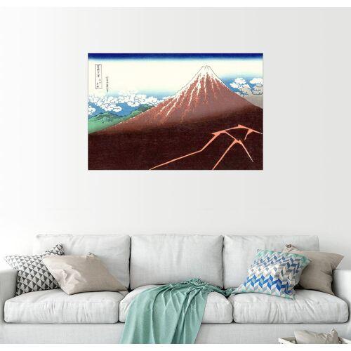 Posterlounge Wandbild, Der Fuji über einem Blitzeinschlag