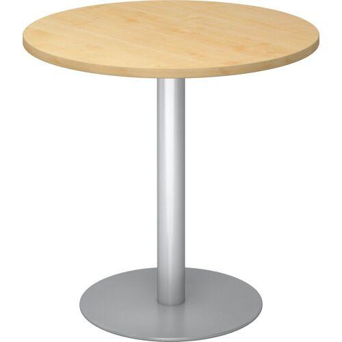 bümö Säulen-Esstisch »OM-STF08-S«, Pausentisch & Besprechungstisch - Platte: rund - Gestell: Silber, Dekor: Ahorn, Ahorn