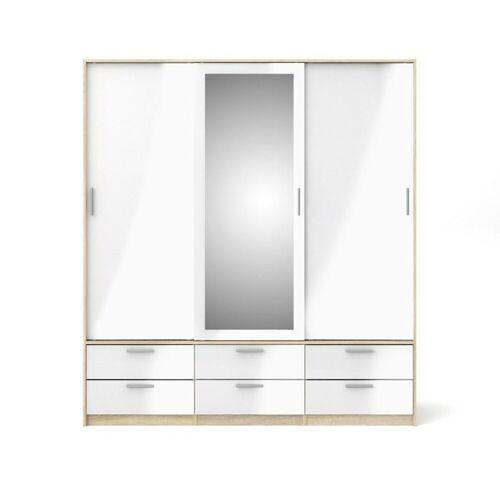 ebuy24 Kleiderschrank »Lisa Kleiderschrank 3 Türen und 6 Schubladen weis«
