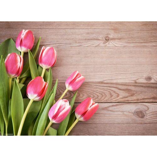 Tischsetmacher Platzset, »Tischsets I Platzsets - Rosa Tulpen - 12 Stück aus hochwertigem Papier 44 x 32 cm«, , (12-St)