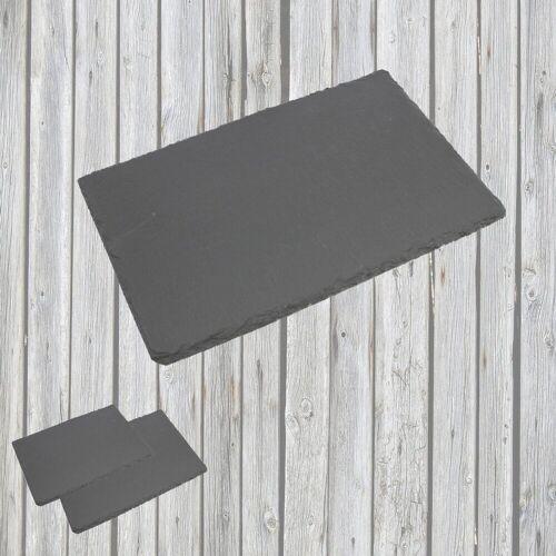 Airbrush-City Servier-Set »3er-SET Schiefer Buffet-Platte, Servierplatte, Schieferplatte, Käseplatte 30x20 cm naturbelassen«
