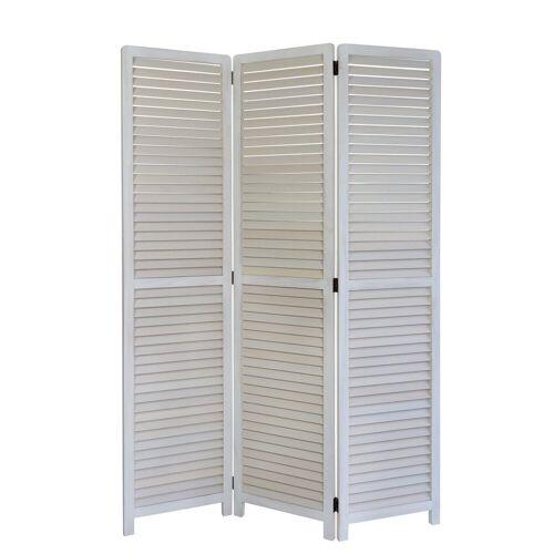 Homestyle4u Paravent, weißer Raumtrenner, 3-teilig, 120x170 cm, weiß