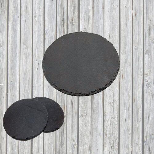 Airbrush-City Servier-Set »3er-SET Schiefer Buffet-Platte, Servierplatte, Schieferplatte, Käseplatte 30 cm rund naturbelassen«