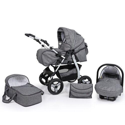Clamaro Sport-Kinderwagen, Primal Kombikinderwagen, Baby 3in1 sofort lieferbar in vielen Farben , 65. Leinen Grau