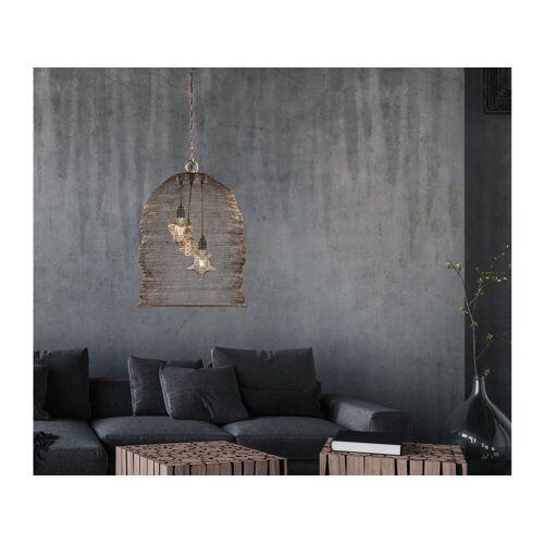 FISCHER & HONSEL LED Pendelleuchte, mit Lampen-Schirm aus Draht-Geflecht, Gitter-Lampen für über Esstisch-Lampen, Vintage, Esszimmer, Wohnzimmer, Galerie, Hängelampe Couch-Tisch, Altmessing