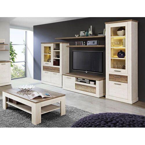 expendio Wohnzimmer-Set »Durio 31«, (Spar-Set, 6-tlg), Pinie weiss mit LED-Beleuchtung