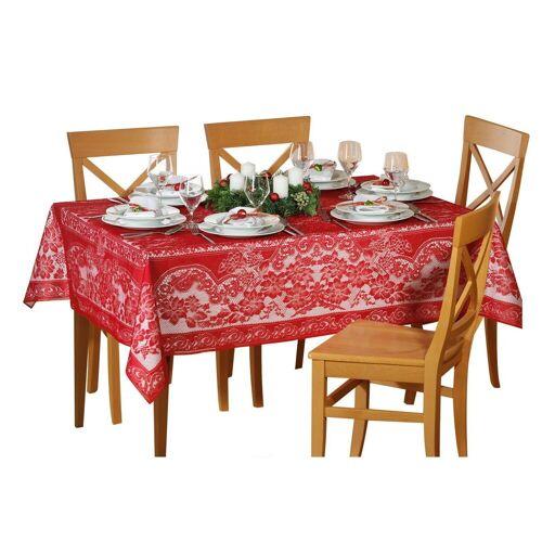 dynamic24 Tischdecke, Spitzen Tischdecke 135x180 Decke Weihnachtsdecke Tischläufer eckig