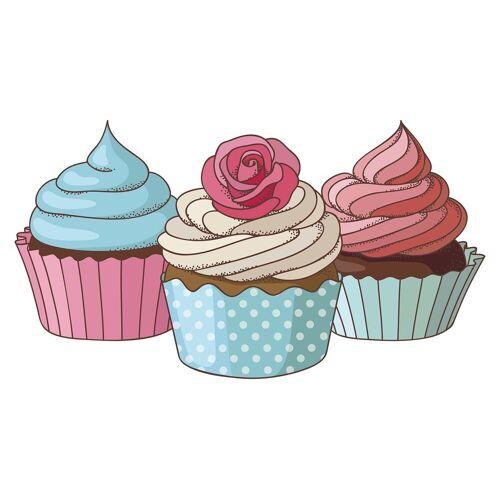 dekodino Wandtattoo »Cupcakes im Set Retro Design« (1 Stück)