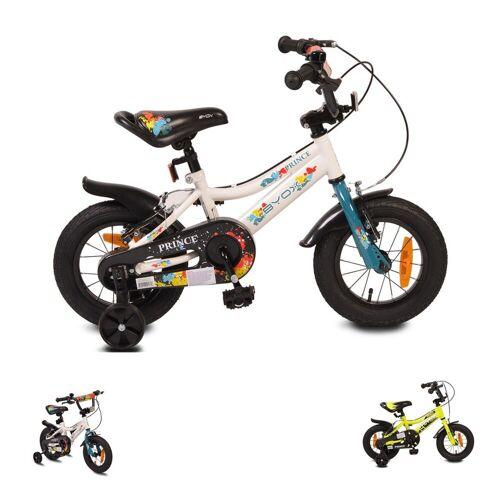 Byox Kinderfahrrad »Kinderfahrrad 12 Zoll Prince«, 1 Gang 1 Gang, keine, sportliches Design, Stützräder, Kettenschutz, weiß