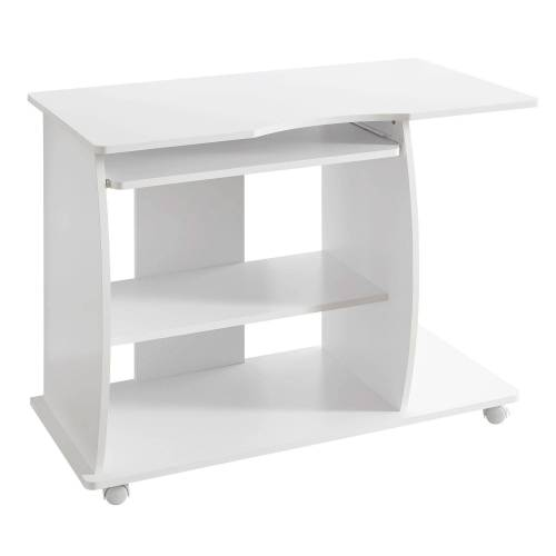 FINEBUY Schreibtisch »FB34440«, Computertisch DAVID rollbar Weiß 90 x 71 x 50 cm mit Tastaturauszug Laptop Tisch auf feststellbaren Rollen PC-Tisch mit Drucker-Ablage platzsparend Schreibtisch für kleine Räume