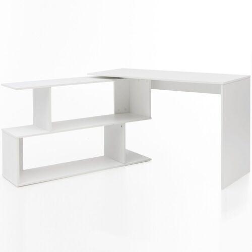 FINEBUY Schreibtisch »FB51521«, Design Schreibtisch Weiß Matt 119 x 78 x 49 cm mit Ablage Regal Eckschreibtisch mit Aufbewahrung Drehbar Modern Weißer Computer-Tisch Groß Fach Stauraum Winkelkombination