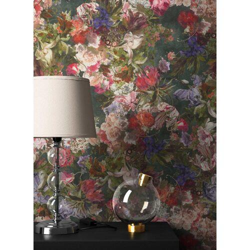 Newroom Vliestapete, Blumentapete Grün Bunt Wallpaper Floral Blumen Tapete Pflanzen Wohnzimmer Schlafzimmer Büro Flur