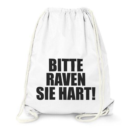 MoonWorks Turnbeutel »Techno Turnbeutel, Bitte Raven Sie Hart!, Party Feiern Sprüche Techno ®«, weiß