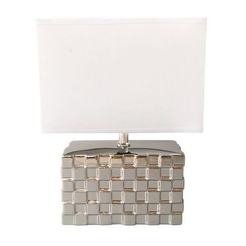 dynamic24 Nachttischlampe, Homea Design Keramik Tischlampe 30cm Tischleuchte Nachttisch Lampe Leuchte, weiss