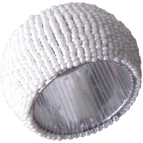 Bestlivings Serviettenring, Glasperlen, (1-tlg), Serviettenring, Handarbeit, Glasperlenring, Weiß