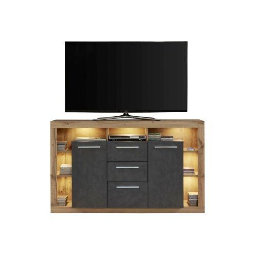 ebuy24 Sideboard »Rominia Sideboard 2 Türen, 2 Schubladen, 7 Ablagen«, Eiche