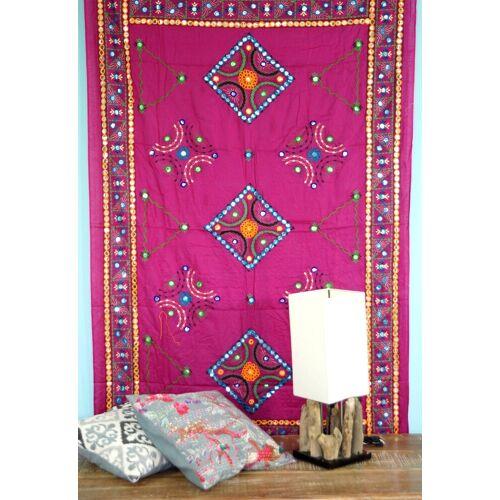Guru-Shop Tagesdecke »Besticktes Tuch mit Spiegelchen, Wandtuch,..«, , pink