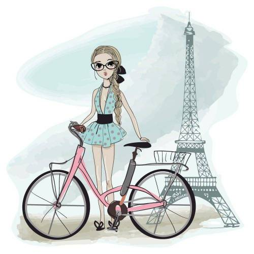 dekodino Wandtattoo »Moderne Frau in Frankreich Eiffelturm« (1 Stück)