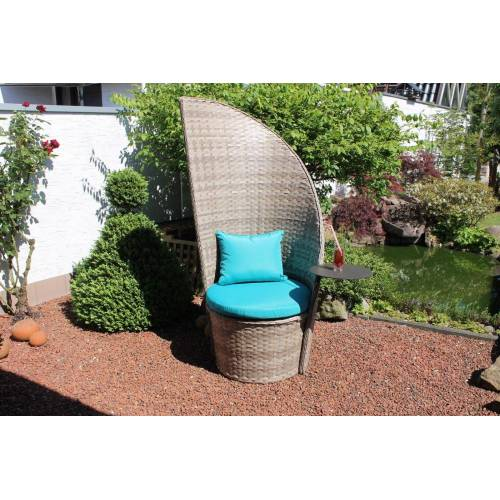 Leco Loungesessel, XL Polyrattan Lounge Sessel + Tisch Gartensessel Garten Stuhl Sessel