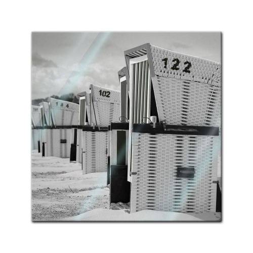 Bilderdepot24 Wandbild, Glasbild - Strandkörbe - schwarz weiss