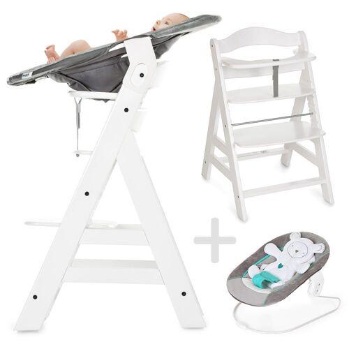 Hauck Hochstuhl »Alpha Plus Weiß - Newborn Set« Holz Hochstuhl ab Geburt + Neugeboreneneinsatz & Wippe