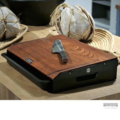 CUTTWORXS Schneidbrett »Black 'n Wood Infinity - Nussbaum Holz & Stahl - 44x30cm - Profi Arbeitsstation«, Holz